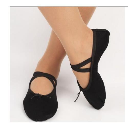 (taille: 32) enfant adulte toile ballet des chaussures de danse pantoufles (noir)