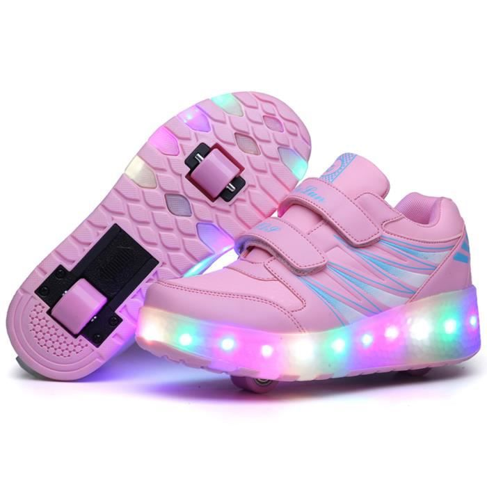 Enfant led light chaussures fille double garçon fille USB rechargeable rose sneakers EFyYVvCE6