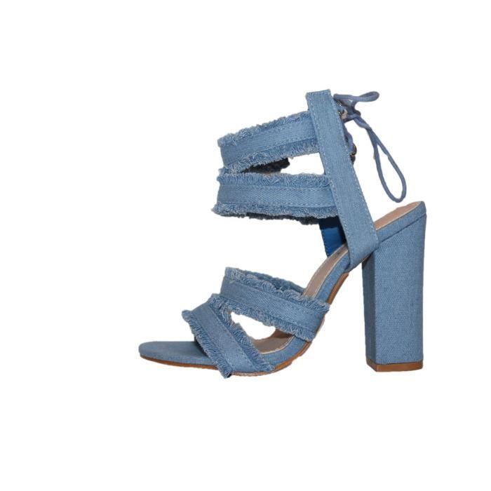 692eea811f29ea Sandales talon haut bleue jeans Bleu Bleue jeans - Achat / Vente ...