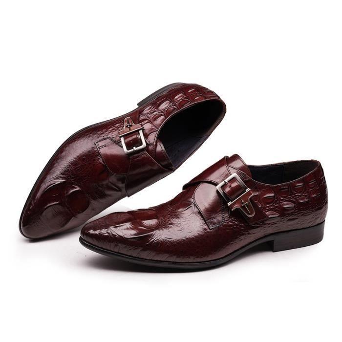 42ed7a70cf7 Mode Crocodile Luxe Hommes Chaussures en cuir véritable avec boucle ...