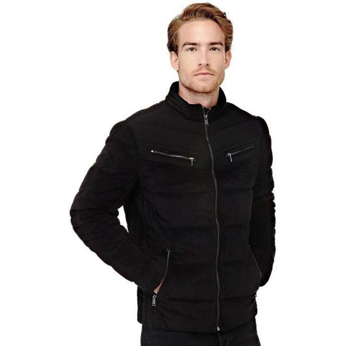 Guess Doudoune Homme effet velours Noir Noir Noir - Achat   Vente ... 46c5609dda1
