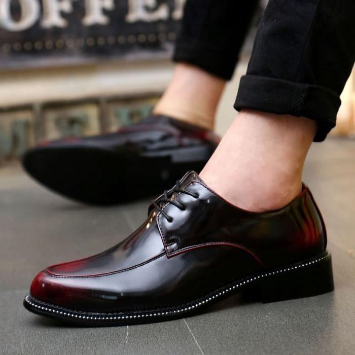 Mocassins en cuir British Fashion en cuir homme Mode Pointu Toe mariage Hommes Homme Chaussures Flats Robe,rouge,41,5339_5339