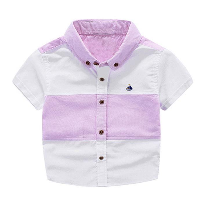 75874236cdb11 Chemise Garçon Enfant Manches Courte Vêtements Mi Saison Enfant 4-12 ...