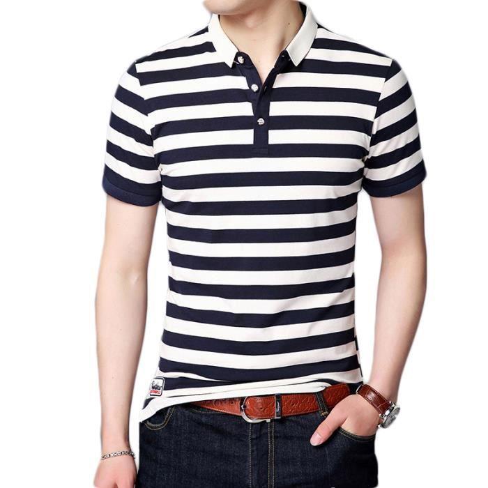 e7decf05638ae T-shirt Homme rayures Revers cintré incontournable avec logo Polo ...
