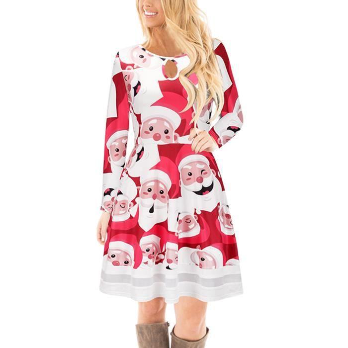 Père Noël à manches longues femmes Floral Print évasé Skater robe de cocktail 2TFTSO Taille-40