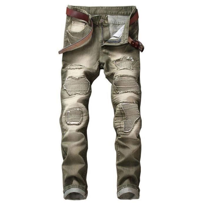 74d0edf02ad0d Jean troué homme Jeans déchirés droit pour homme slim a la mode Multicolore