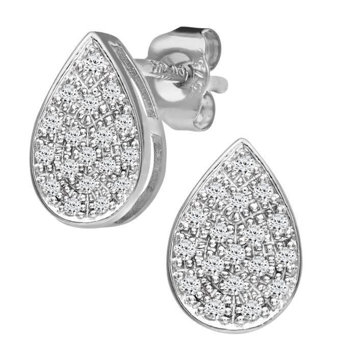 Revoni - Boucles d'oreilles en or blanc 9 carats et diamants, motif goutte d'eau- REVCDPE03593W
