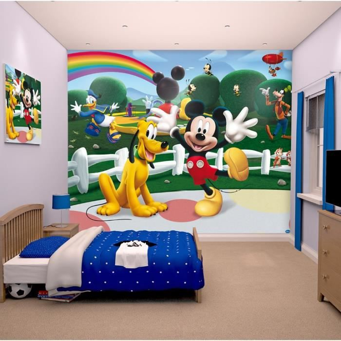 Papier peint enfant mickey sticker g ant fresque murale for Stickers mickey chambre