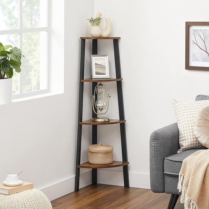 vasagle tag re d 39 angle vintage meuble de rangement pour bureau 4 tages biblioth que d. Black Bedroom Furniture Sets. Home Design Ideas