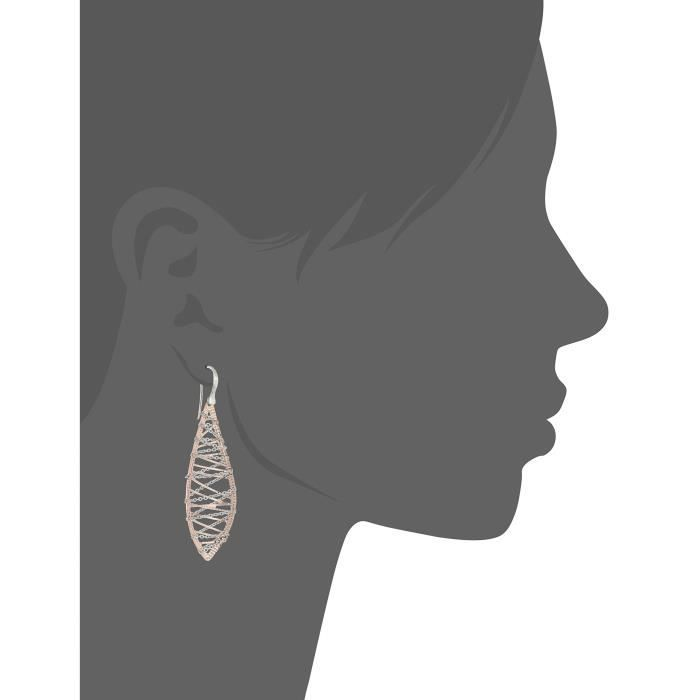 Craze 10k Rose And White Gold With Rhodium Plated Dangle Earrings HLTOE