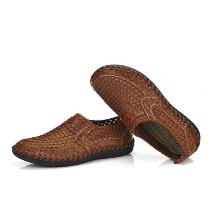 Chaussure Homme Printemps Été Comfortable Respirant Slip On Chaussures BJYG-XZ070Marron44 ZtTb7ew
