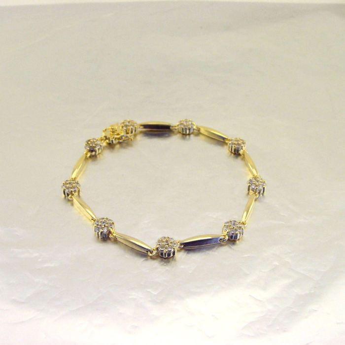 Bracelet Plaqué Or Fleurs de Cristal Blanc