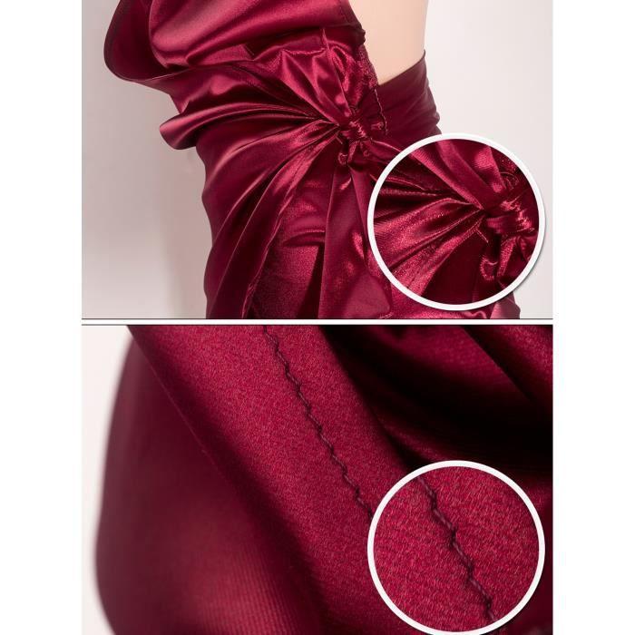 Robe de club-soirée-bal courte col V profond à bretelle avec nœud bas asymétrique dos nu satin sexy grande taille d'été-bordeaux