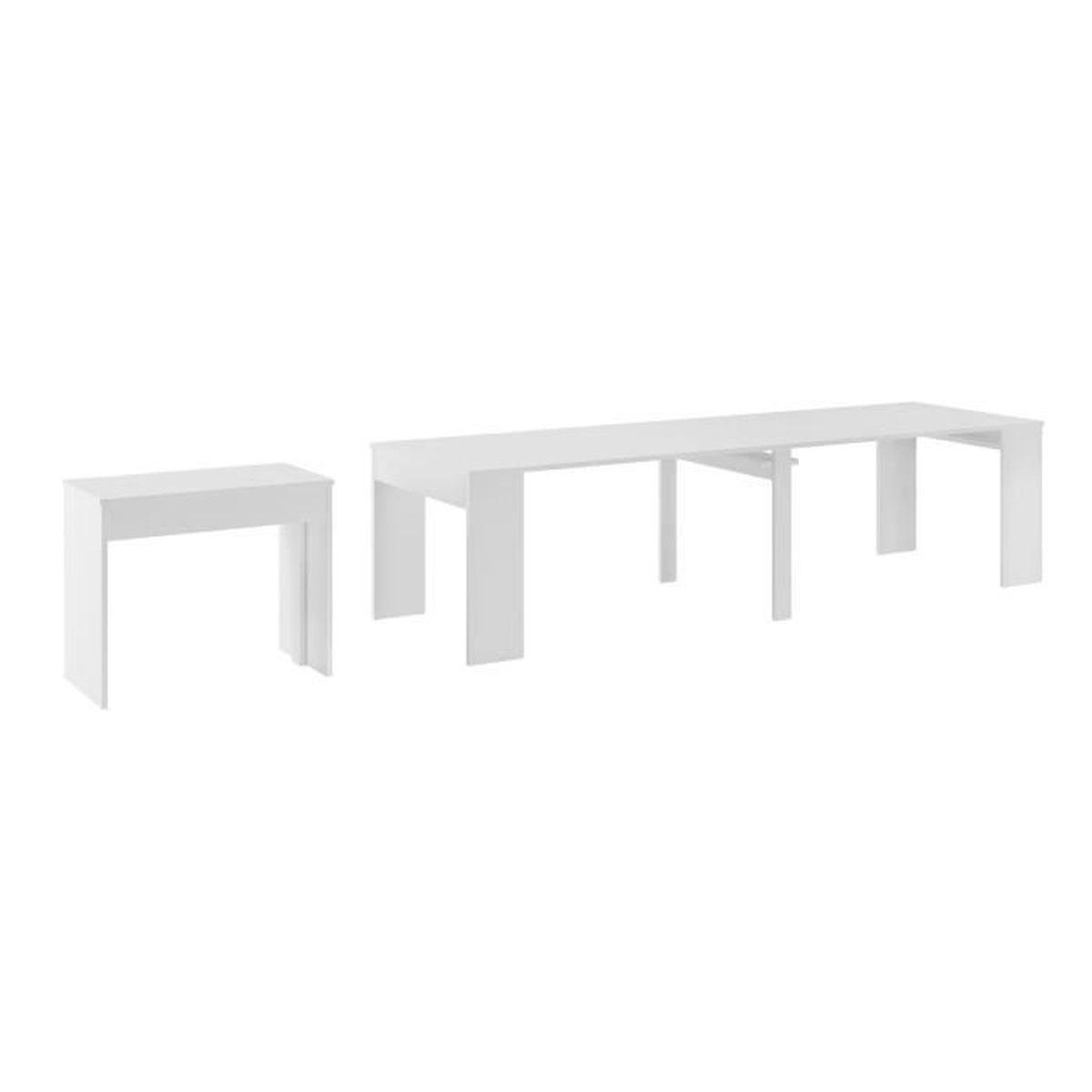 Table de Salle à Manger extensible jusqu\'à 301 cm, Blanc brillant ...