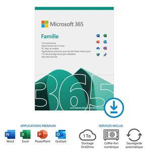 BUREAUTIQUE À TÉLÉCHARGER Microsoft Office 365 Famille à télécharger Abonnem