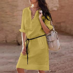 ROBE Femmes Robe Maxi demi manches Casual Boutons V Rob d73492ede4d