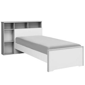 LIT COMBINE  Lit Blanc/Gris 90*190 cm + sa tête de lit + tiroir