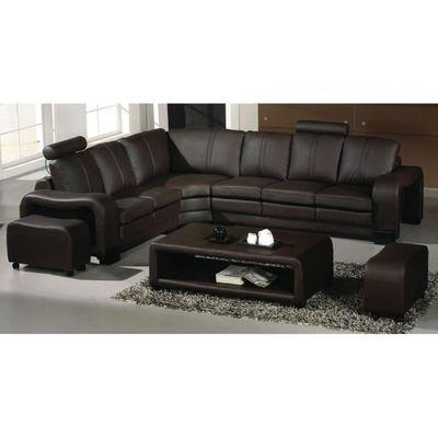 6ad962a32445e8 Canapé d angle en cuir marron + 2 poufs relax DALLAS - Achat   Vente ...