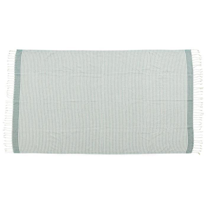 DONE Plaid LOUNGE STRIPES - Composition : 100% Coton - Coloris : VERT - Dimensions : 100x180cmCOUVERTURE - EDREDON - PLAID