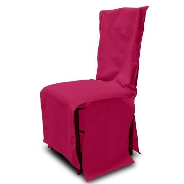 SOLEIL D'OCRE Housse de chaise en coton recyclé PANAMA Framboise