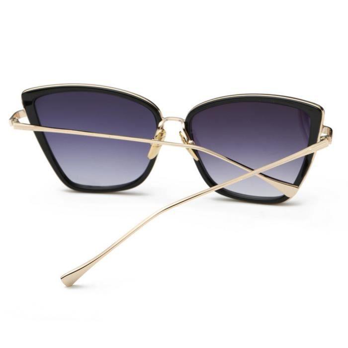 noir lunettes de double yeux chat personnalisé YKS lumineux feuille fashion de soleil gris 7qUEw1AXx