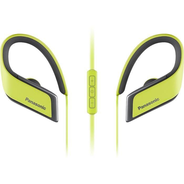 PANASONIC BTS30 Écouteurs Sport sans fil Bluetooth - 6h d'autonomie - Résistants à l'eau (IPX4) - Jaune