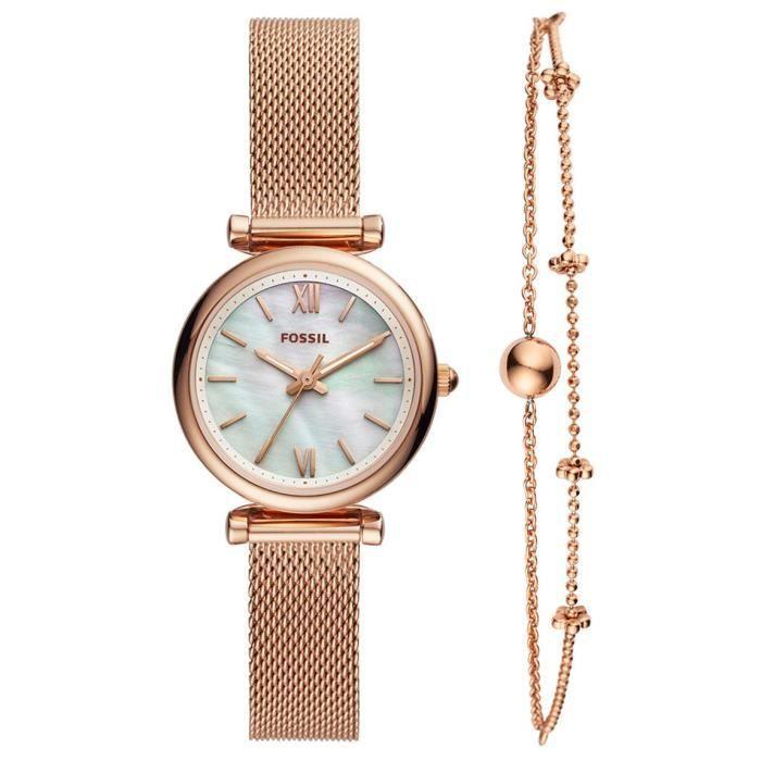 Montre Et En Rose Coffret Fossil Bracelet Acier nk8Pw0O