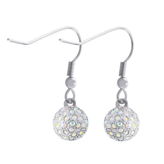 Miabelle Boucles doreilles diamant Swarovski couleur argent et blanc Mb1011g 1LN7S5