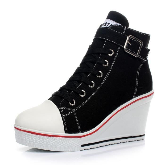 Haut-top chaussures de toile de femmes croûte chaussures à talons de 8cm d'épaisseur