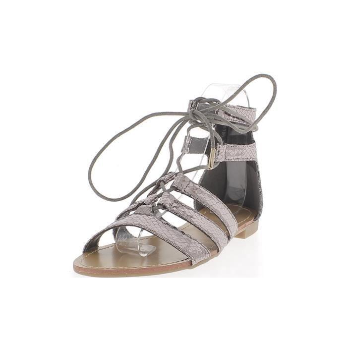 Sandales spartiates grises silver aspect croco verni avec 5 fines brides et lacet V6Pk6Fijd