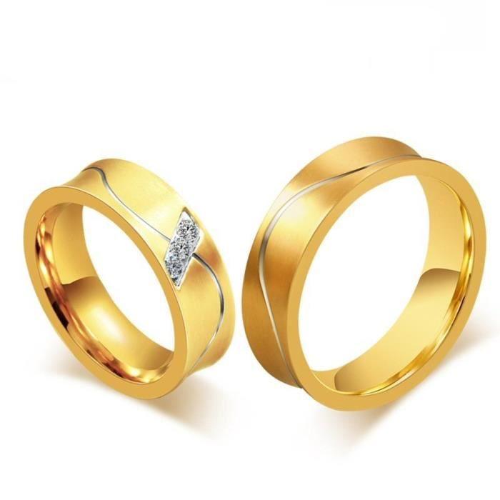 0ea2a44ba99 ALLIANCE - SOLITAIRE Alliance - Solitaire - BOBIJOO Jewelry - Alliance. Alliance  Bague Anneau Doré à l Or Fin Acier Inoxydable Mariage ...