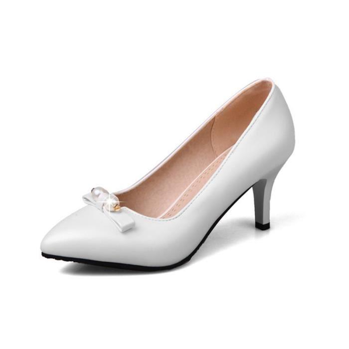 Escarpins Femme Plisse Perle Boucle Bout Round Chaussures A Talon Bas De Mariage
