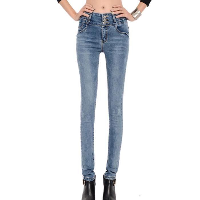 femme fille retro jean automnal collant en taille haut bleu bleu achat vente jeans cdiscount. Black Bedroom Furniture Sets. Home Design Ideas