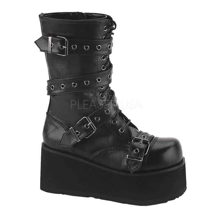 Demonia TRASHVILLE-205 3 1/4 Inch P/F Goth Punk Blk PU Calf Bt W/ Wrap Around Strap