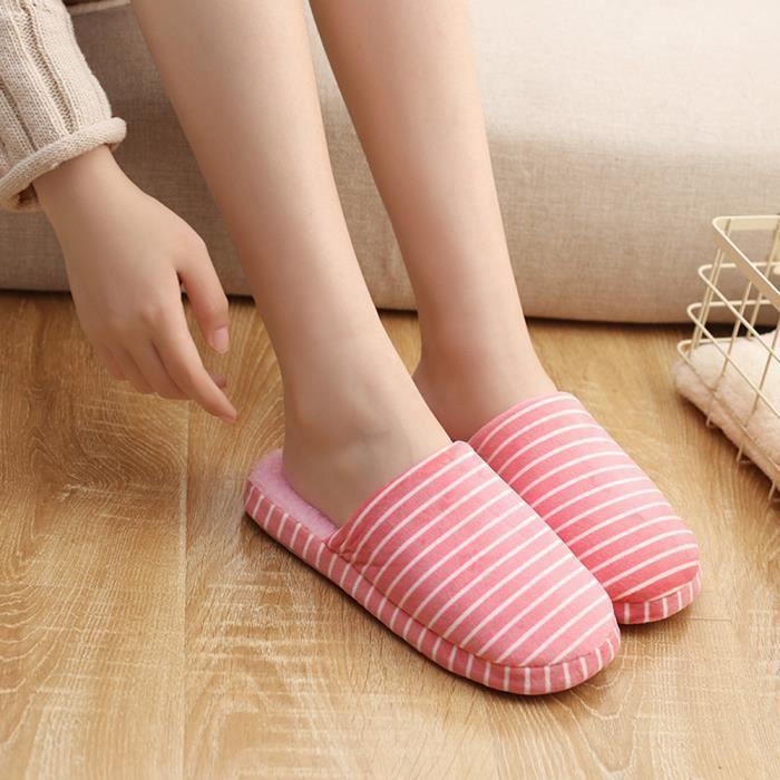 Femmes hommes rayés intérieur pantoufles maison anti-dérapant hiver doux chaussures chaudes Rose XKO330 v4qALa