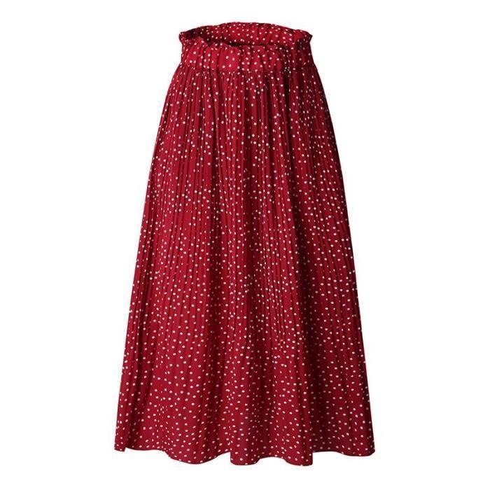 643e6b4841dd38 Jupe à Pois Femme plissée Taille Élastiquée Ete