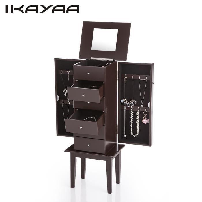 IKAYAA Armoire à bijoux sur pied avec miroir Cabinet boîte de ...