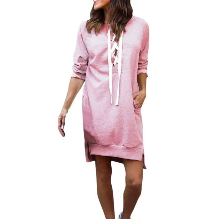 Pachasky®Femmes bandage Bodycon partie cocktail manches longues Casual Short mini robe ROSE#NYZ09140265