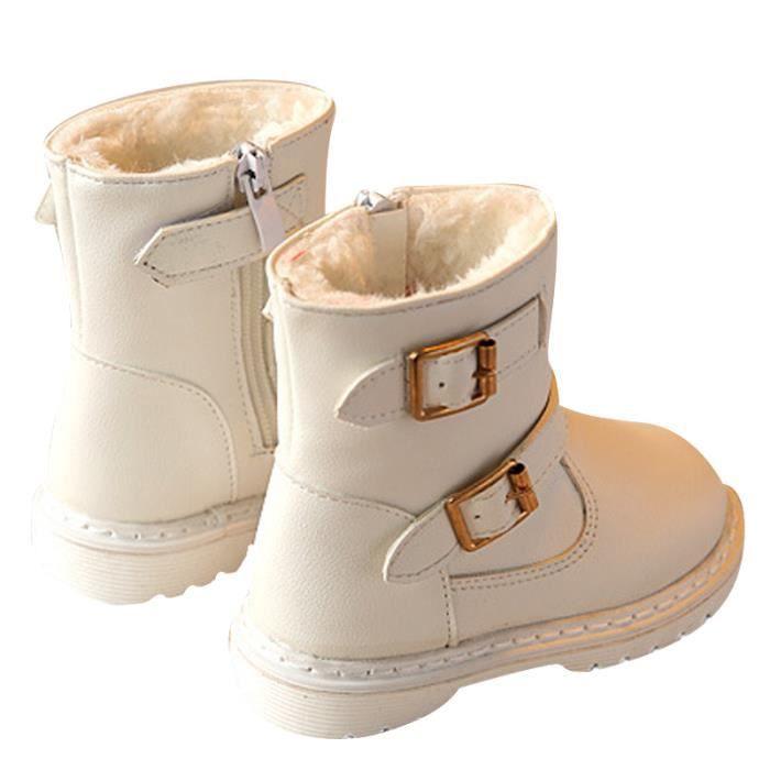 D'hiver Bottes Cuir Enfants Nouveaux Mode Bottines Fille WYS-XZ104Blanc25