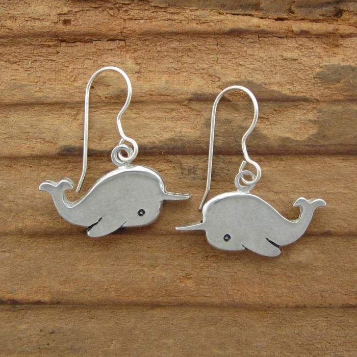 Womens Pewter Narwhal Earrings GPM3B