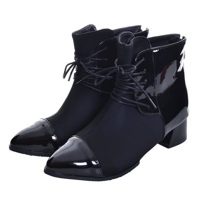 Winter Ankle Boots Patchwork Chunky Heel Leather Bootie Shoes Zip Pointy Toe Fashion Boots HXATW Taille-39 1-2