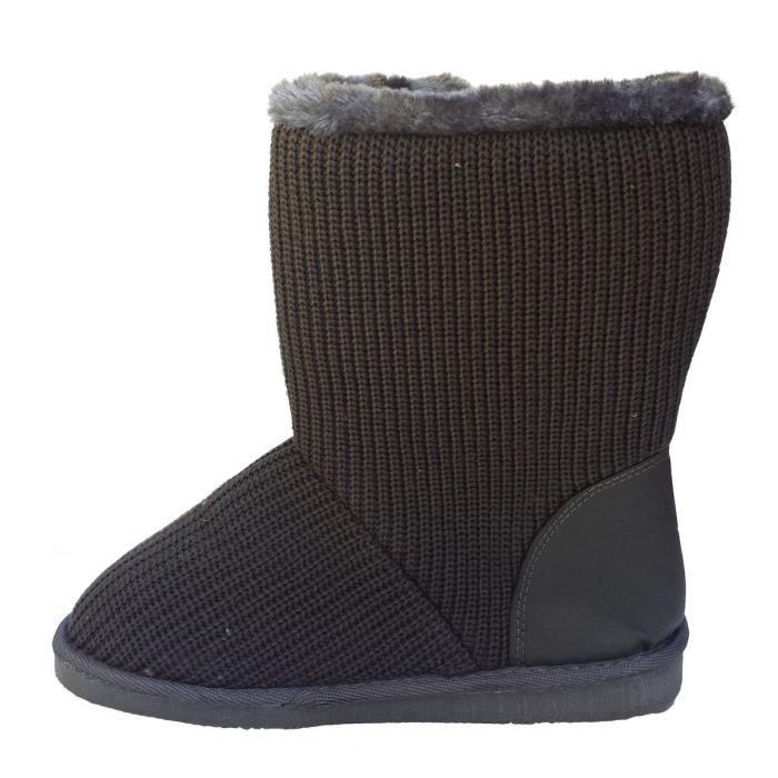 Classique élégant Pull en maille crochet, doublées de fausse fourrure mi-mollet gris bottes plates QLQHO Taille-41