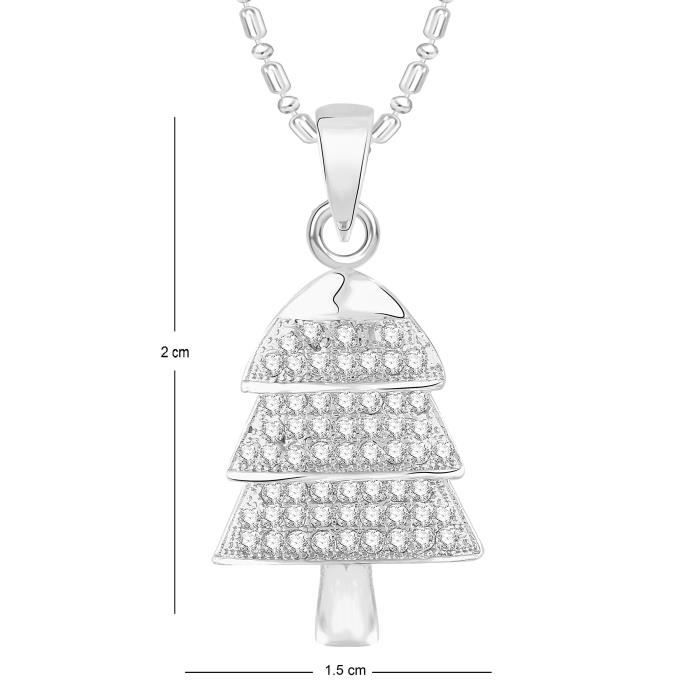 Womens Vk Jewels Christmas Tree Rhodium Plated Alloy Cz American Diamond Pendant With Chain For [v LQYH0