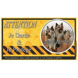 PLAQUE - SIGNALÉTIQUE Plaque De Garde Silky-Terrier warning