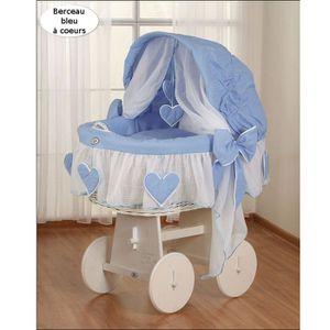 BERCEAU ET SUPPORT Berceau bébé osier blanc complet textile bleu