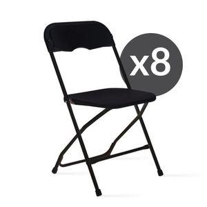 CHAISE 8 Chaises Noires Pliantes
