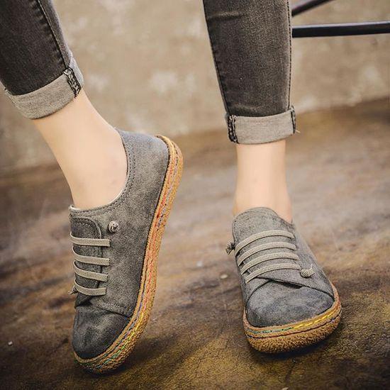 a0e31e63ea5f Bottines Lacets Femmes En Suède Gris Plates À Chaussures Femme Simple Bottes  Douces Cuir PPqw5a
