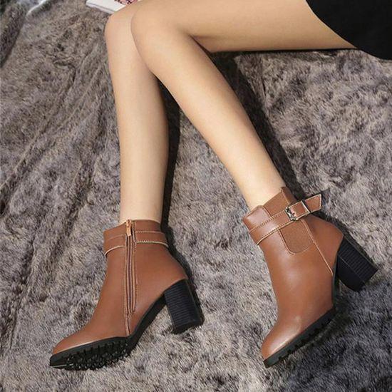 Chaud Martin Dames Faux Bottines Femmes Talons Frandmuke8559 Boucle Chaussures Ceinture Bottes eCBoxdr