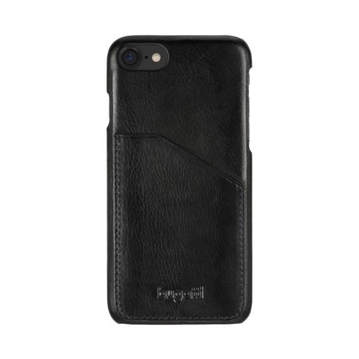 BUGATTI Coque cuir Londres avec poche pour cartes - iPhone 7 - Noir
