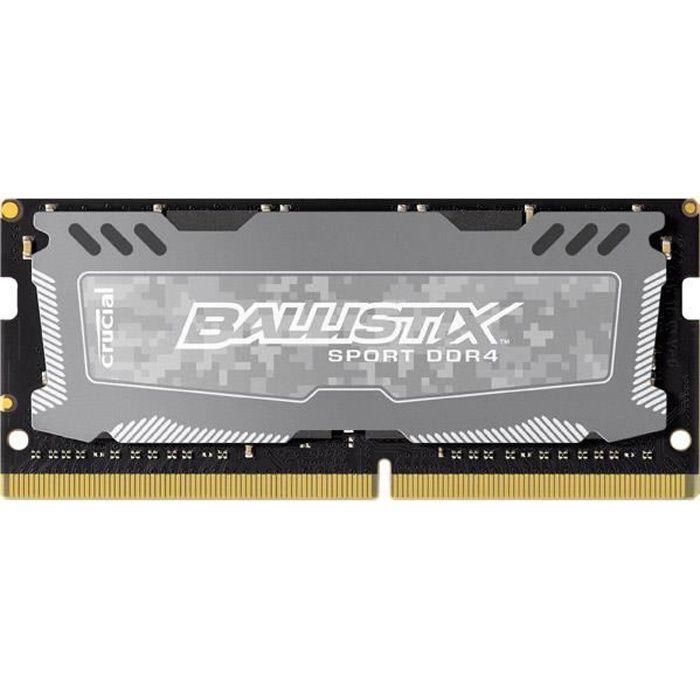 BALLISTIX Mémoire PC Sport LT Gris - DDR4 - 8GB - 2400 MHz - SODIMM